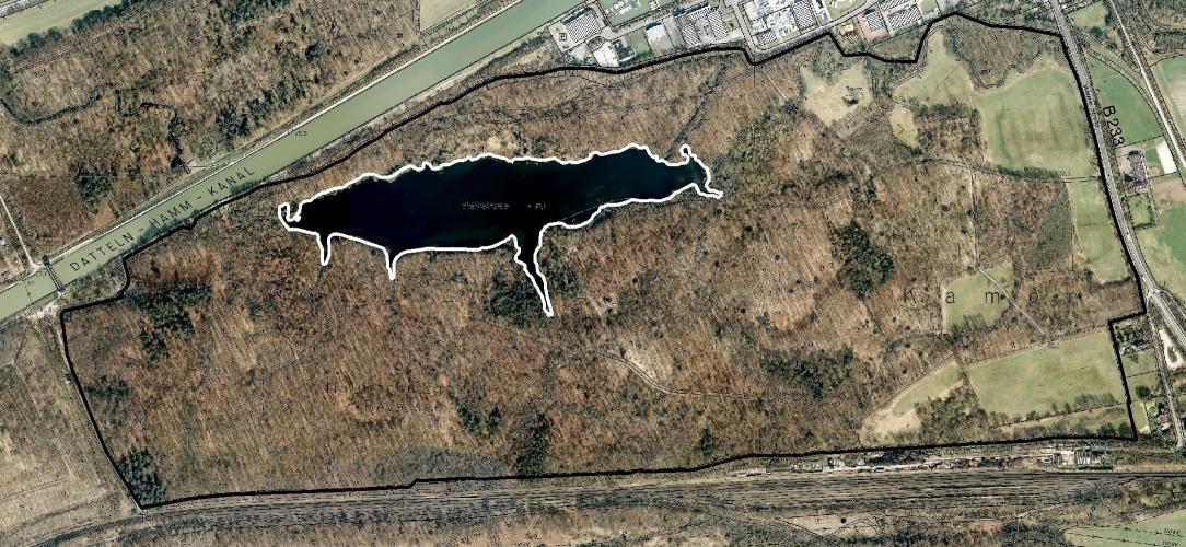 Heute hat der See eine Ausdehung von mehr als sieben Hektar (Luftbildbefliegung 2011 bis 2016). Regionalverband Ruhr, CC BY-NC-SA 4.0