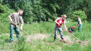 'FÖJlerIn' bei der Grünlandpflege