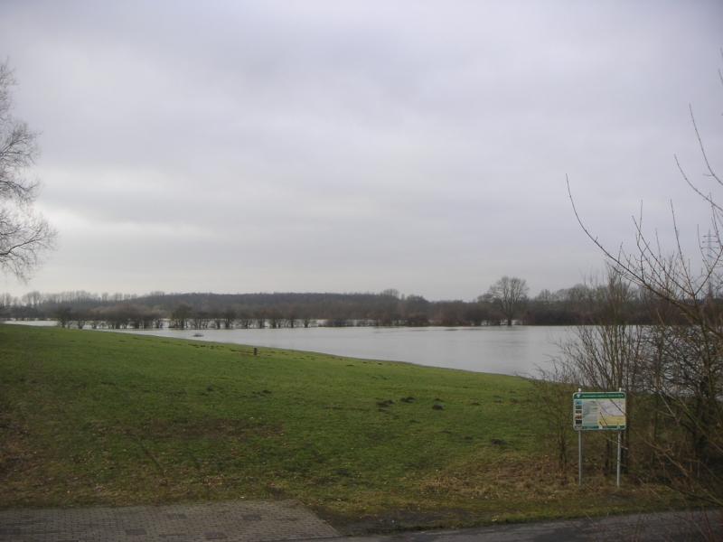 das letzte Mal trat die Lippe bis zu ihrer natürlichen Terrassenkante im Januar 2011 über die Ufer (linksseitige Terrassenkante auf Höhe der Fischerhofbrücke)