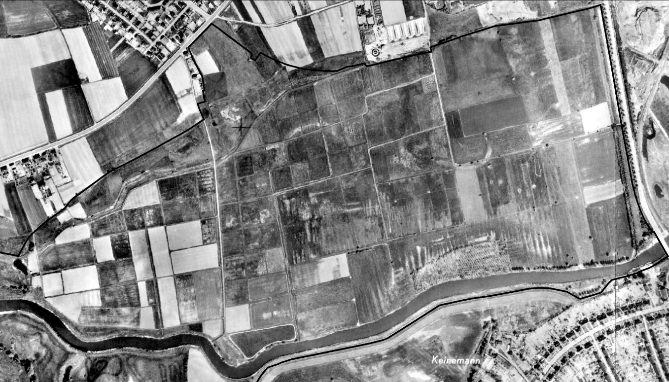 Um 1969 sind die Rieselfelder Werne noch durch zahlreiche Verrieselungsbecken gekennzeichnet (Luftbildbefliegung 1957 bis 1980). Regionalverband Ruhr, CC BY-NC-SA 4.0